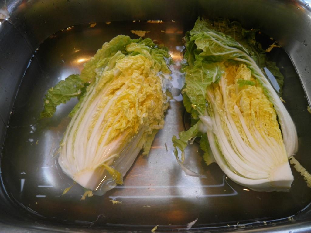 Cabbage. Wet before salting